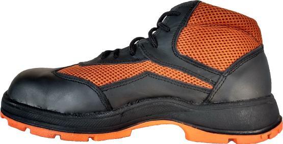 Tenis Borceguí industrial con casquillo de seguridad peil negra con textil naranja con suela industrial hule con acrilo nitrilo
