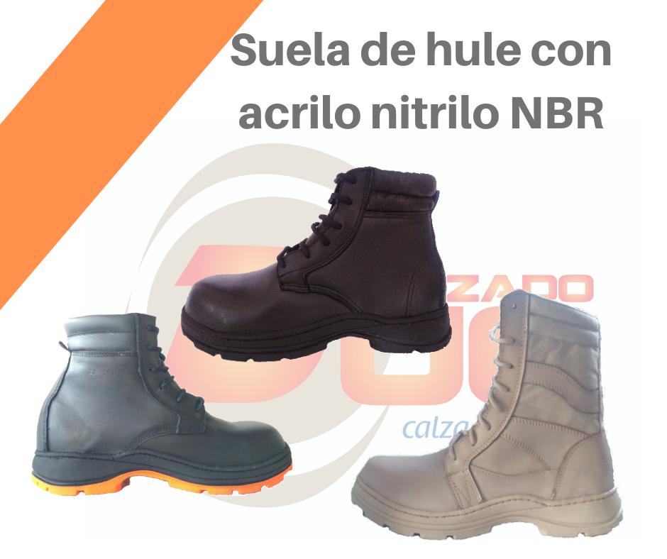 Botas con suela de hule NBR, Calzado industrial con suela de hule con acrilo nitrilo